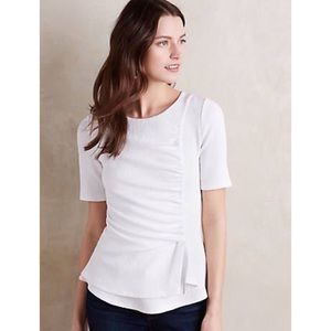 Anthropologie Deletta Ripple Front Top Small White